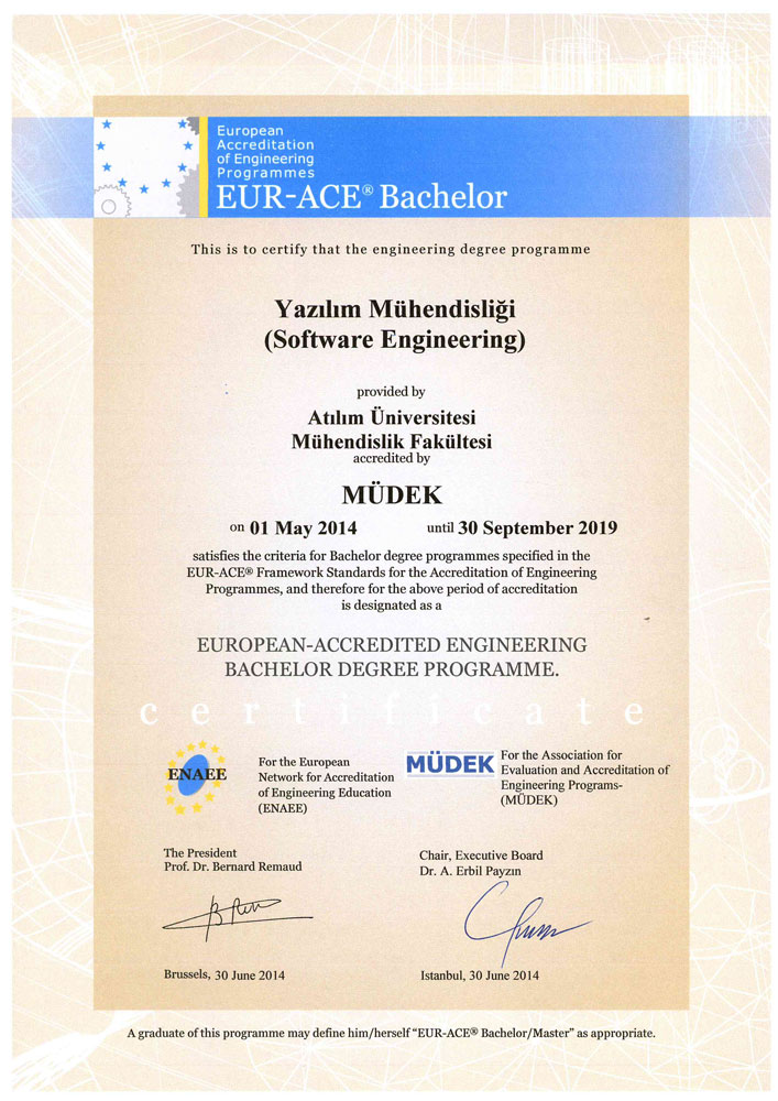 Atilim University Software Engineering Mudek Accreditation